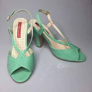 B.A.I.T. Pin Up Retro Mint Green Slingback Sandals